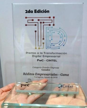 Réditos Empresariales se llevó a casa el Premio de Transformación Digital en Andicom 2018 en la categoría de grandes empresas. (Crédito de la foto: Grupo Réditos)