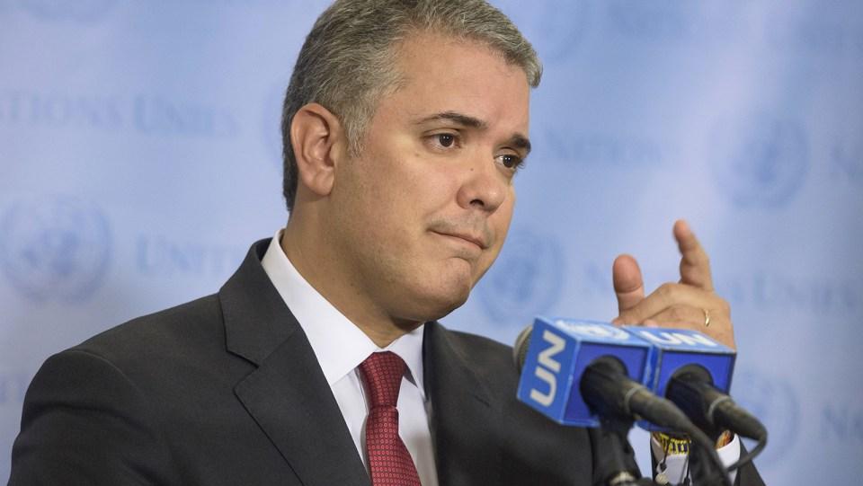 Foto: Iván Duque Márquez, presidente de Colombia, informa a los periodistas durante la Asamblea General de la ONU. (Foto: UN Photo / Loey Felipe)