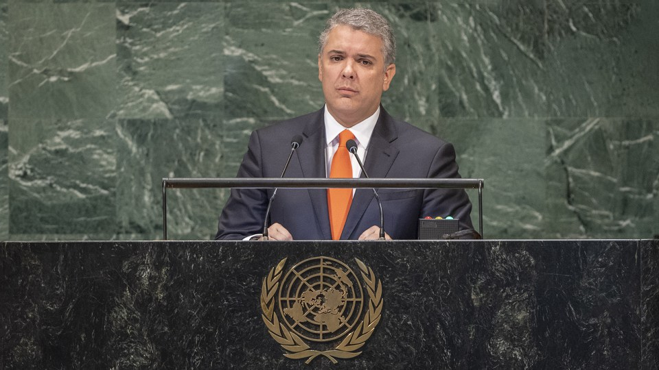 Iván Duque Márquez, presidente de Colombia, se dirige al debate general del 73 ° período de sesiones de la Asamblea General. (Foto: UN Photo / Cia Pak)